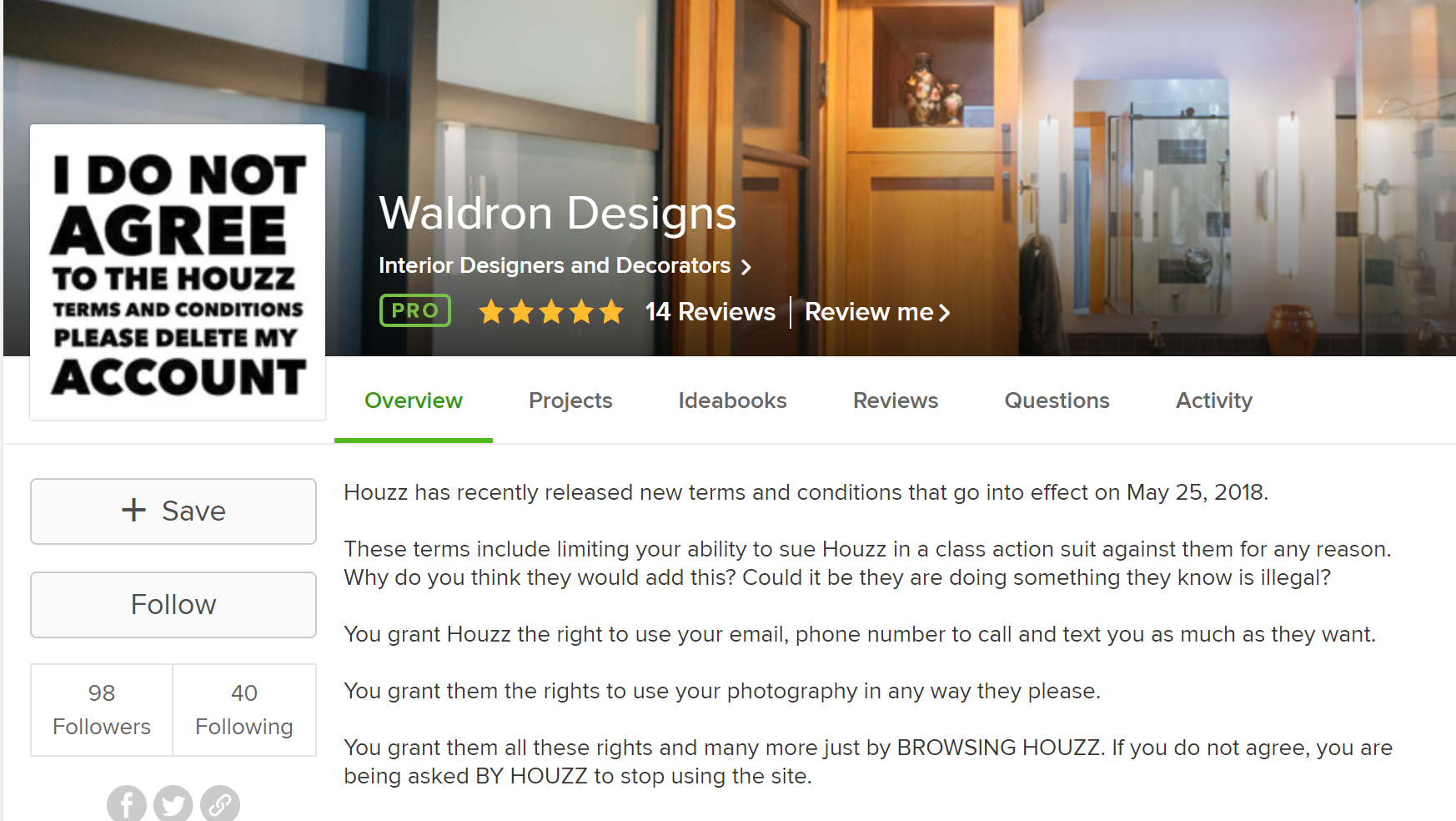 While many designers have removed their Houzz accounts, we are using ours to share the truth about this company.