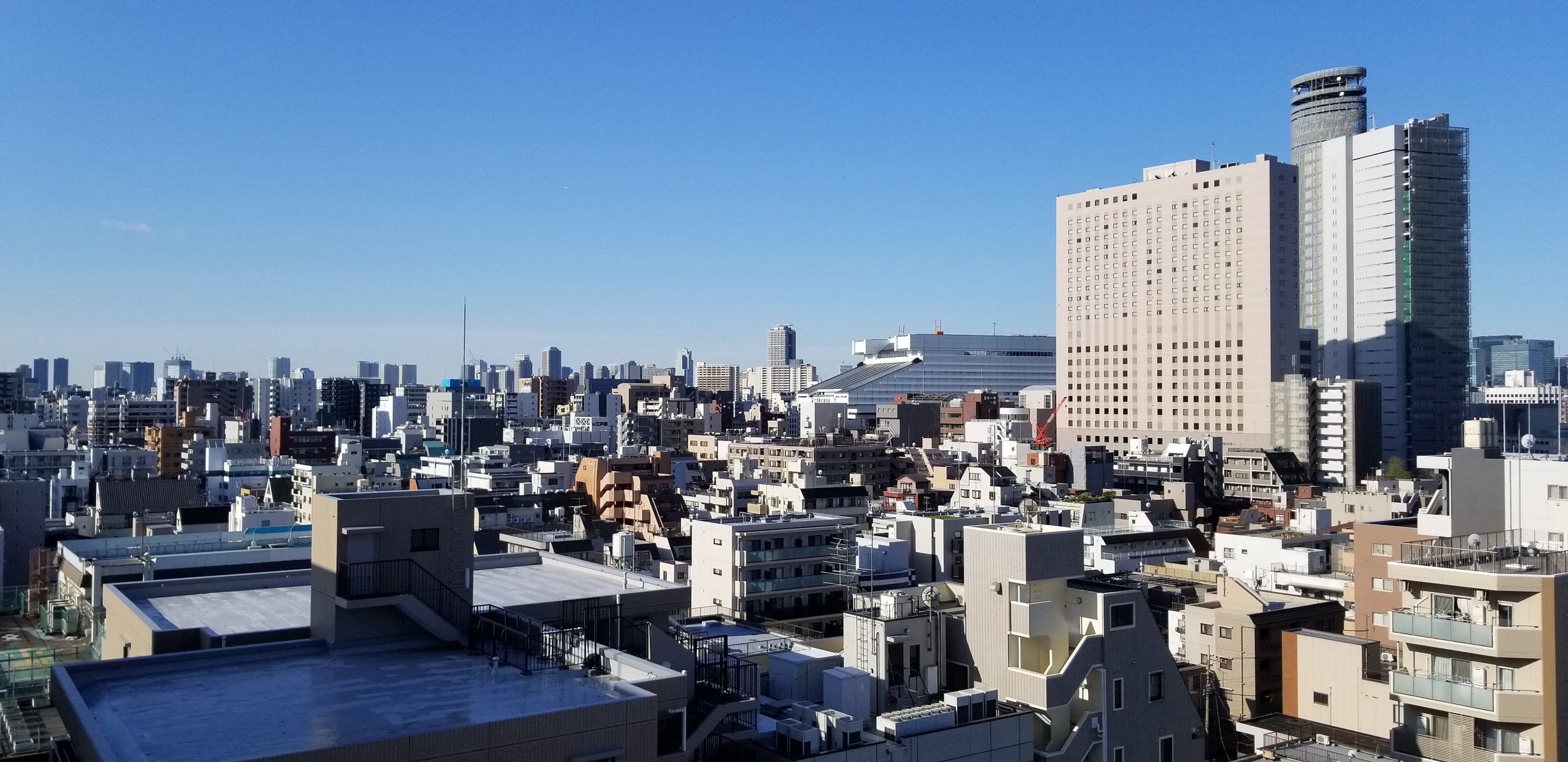 One of the views from our Tokyo apartment. That angled roof center-right is the sumo stadium. We did see sumo wrestlers walking around nearby.