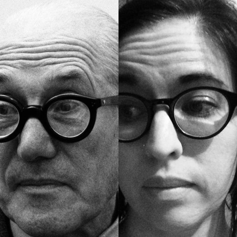 Charles-Édouard Jeanneret-Gris on the left, and me proudly posing in my Corbusier style glasses to imitate my hero. I kind of think we look like we could be related, don't you?