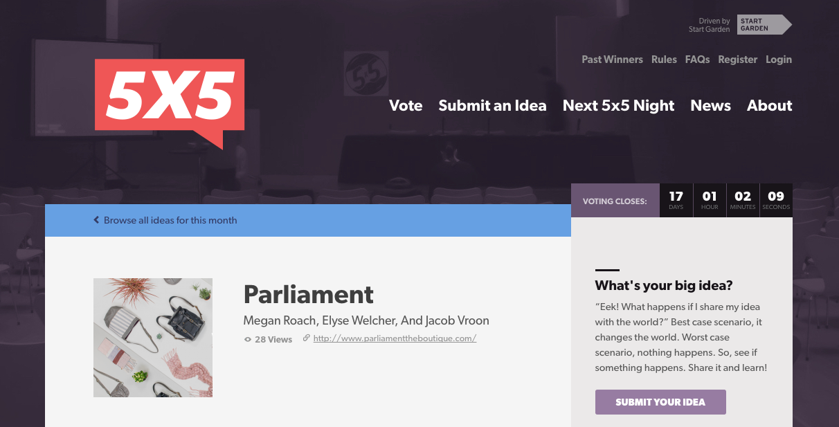 Click the image to vote for Parliament for 5x5, now through October 18th, 2016!