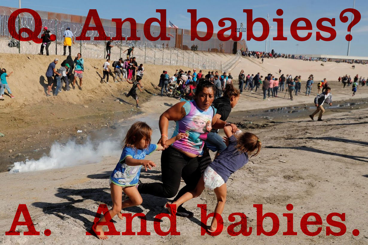 "November 27, 2018 The images coming from our southern border are chilling. I am ashamed of our nation. Today I thought of the Viet Nam poster ""And babies"" by the Art Workers Coalition.  I have reprised that here using Kim Kyung-Hoon's photograph."