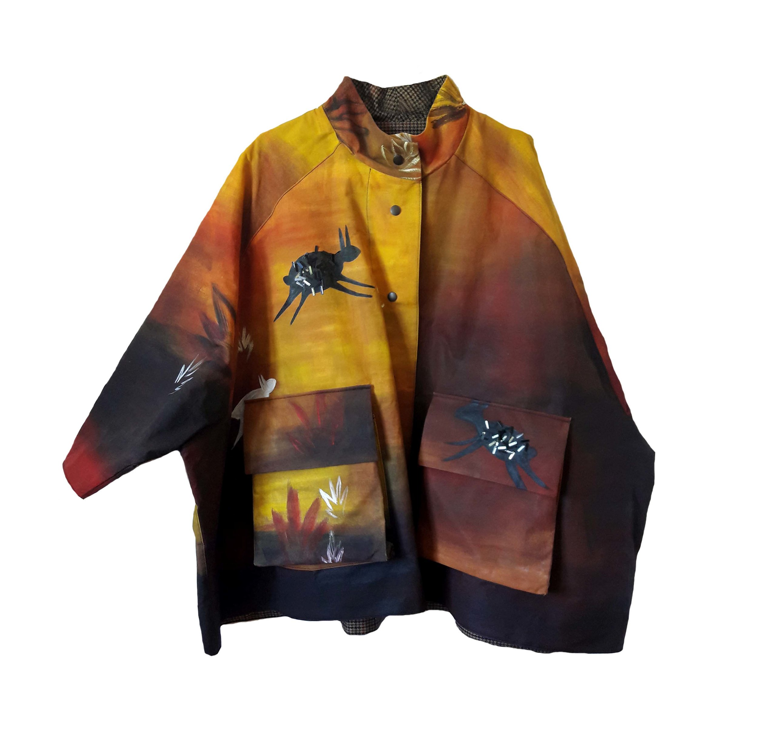 HAND PAINTED WAX COTTON HUNTER COAT €850
