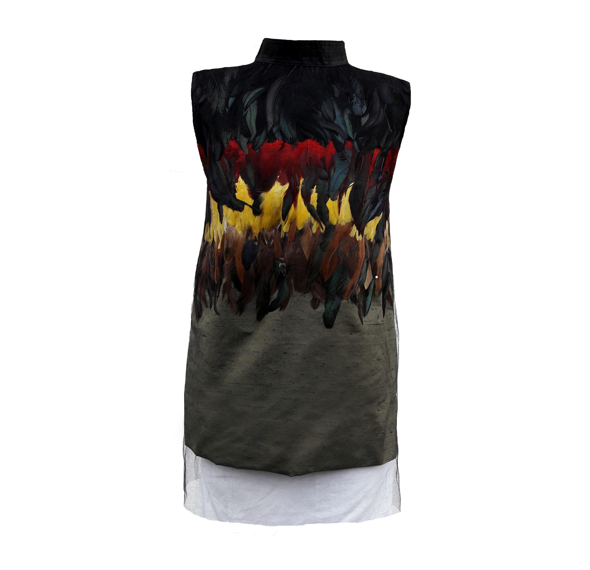 AUTUMN SUNSET FEATHER DRESS €800