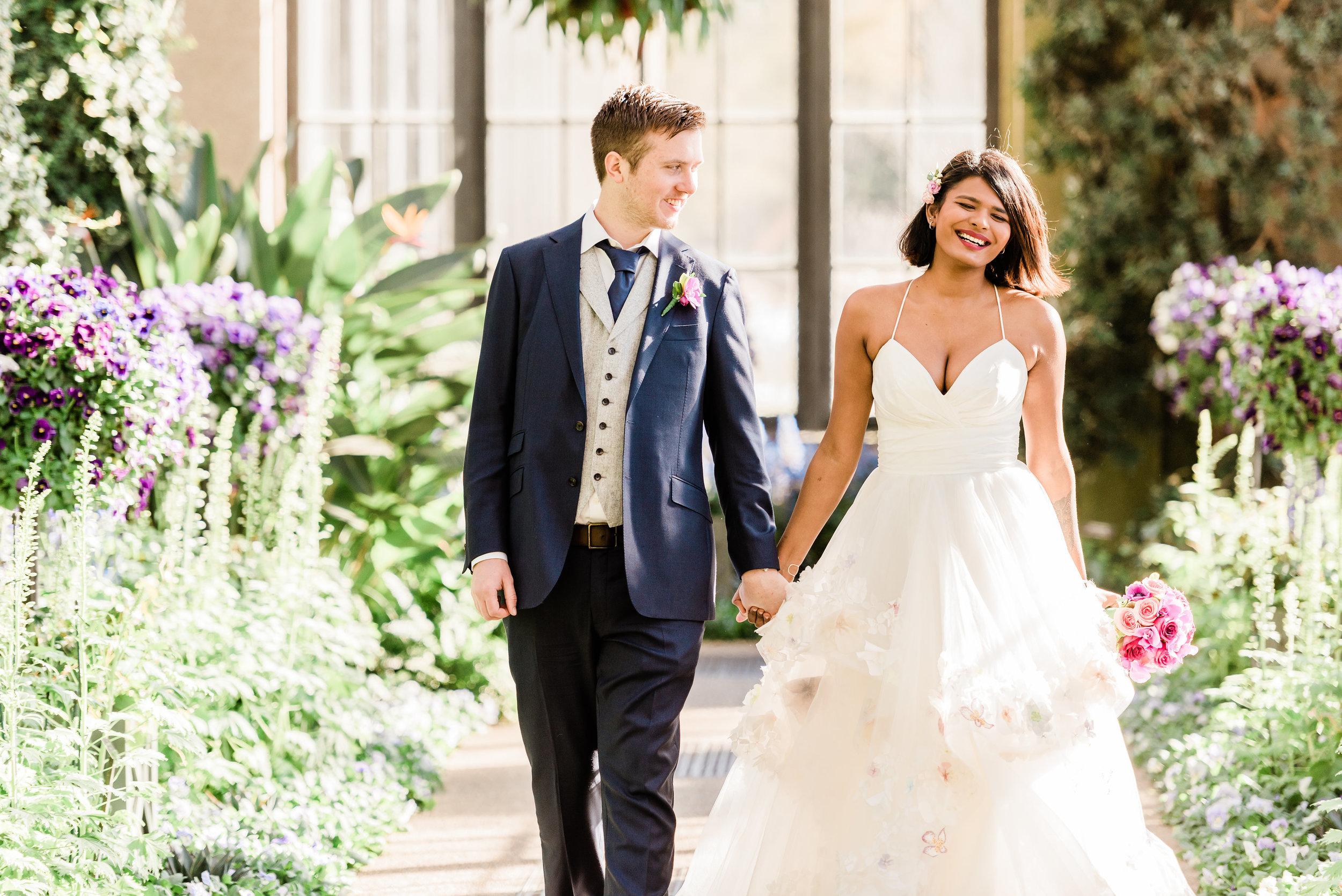 bride-groom-walking-longwood-gardens