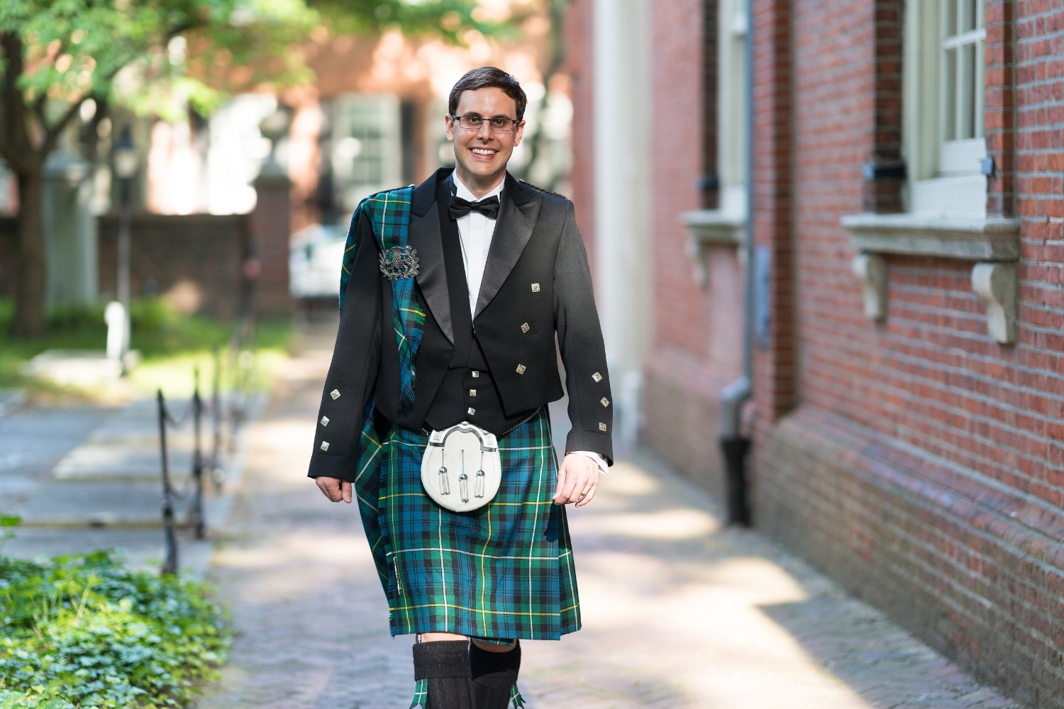 Groom's attire by  USA Kilts