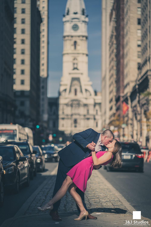 broad-street-dip-kiss-philadelphia-pa-engagement-session