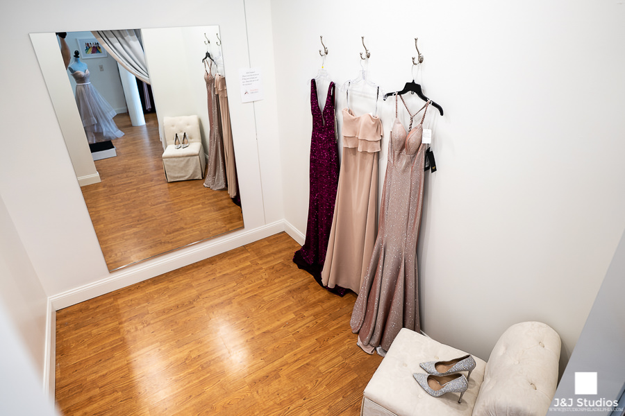 Dressing Rooms PromMiss Dresses with Hooks, Full Length Mirror and Chair.