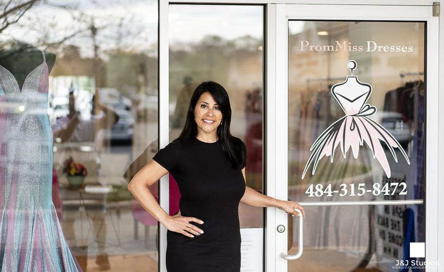 Dina Daubenberger, Owner, outside PromMiss Dresses in West Chester.