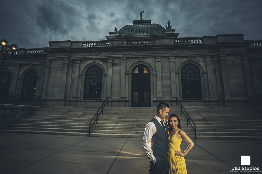 please touch museum steps engagement photo