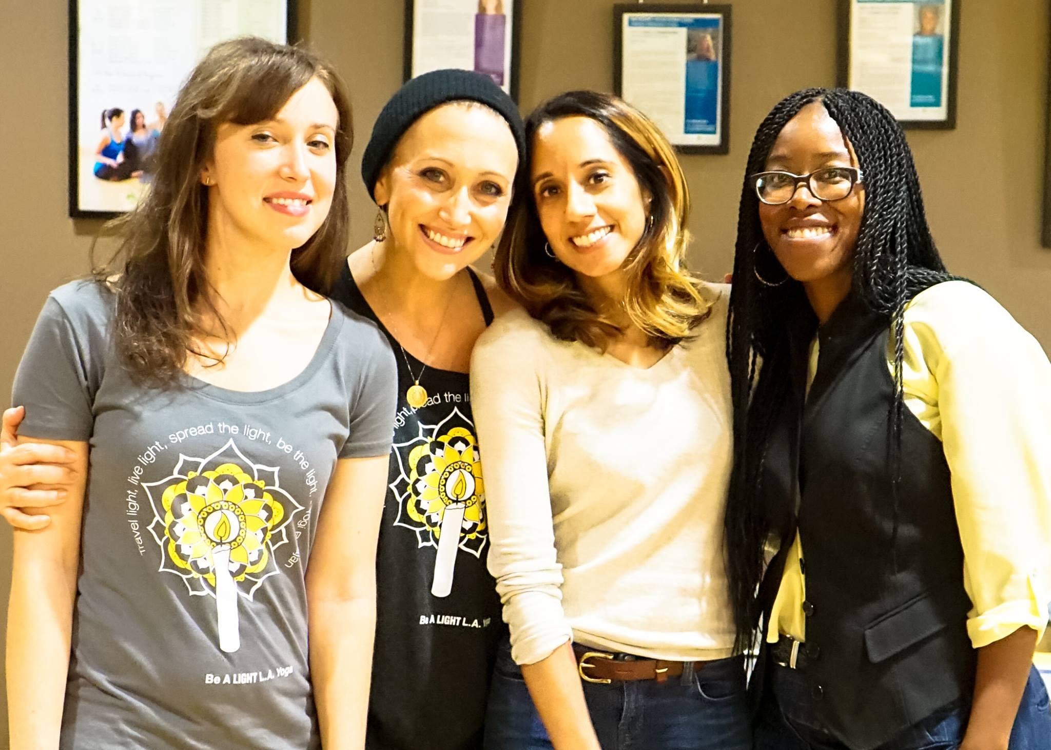 From left to right: Event O  rganizer Dania Alisa, YogaWorks Teacher Lainie Devina, Sat Naam Founder Seema Kapur, and Sat Naam Program Director Cecilia Ussher.