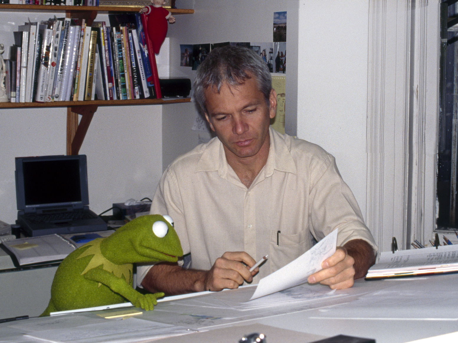 Left to right: Kermit the Frog, Edward Eyth - Creative Director, the Jim Henson Company.