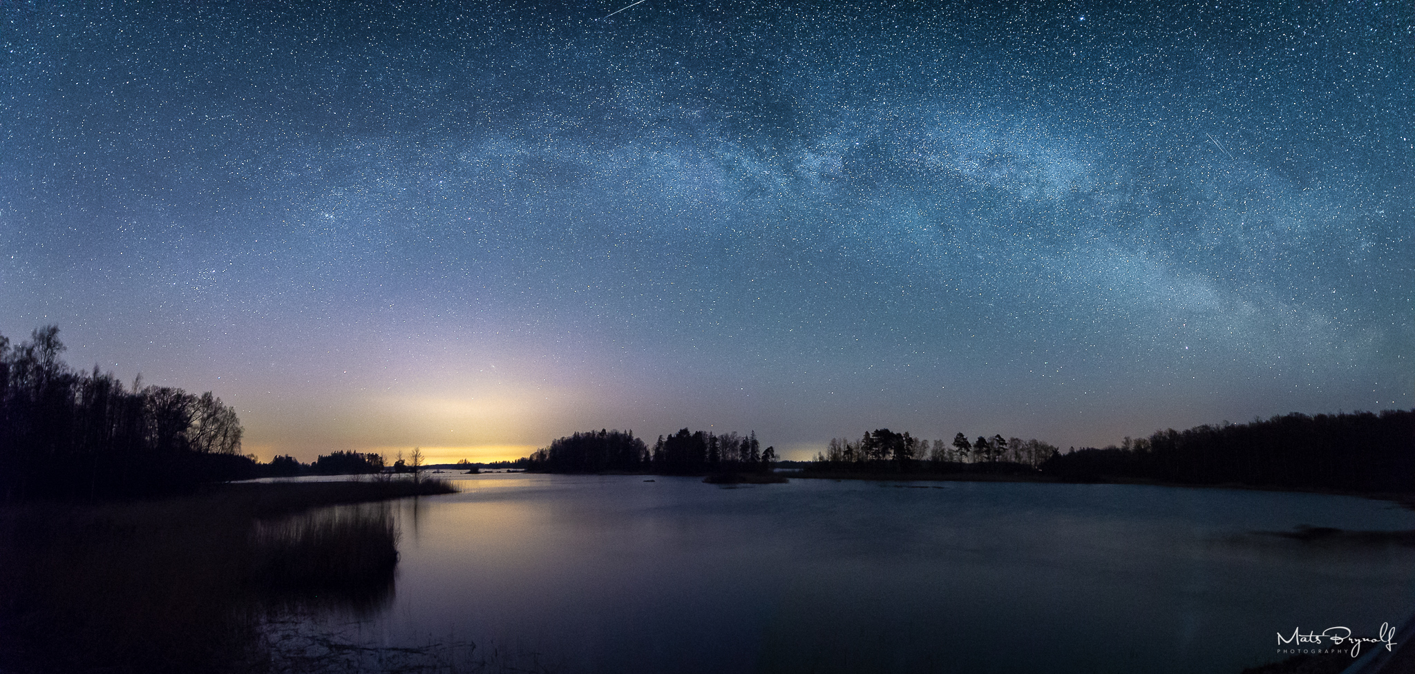 Milky Way panorama over Lake Åsnen