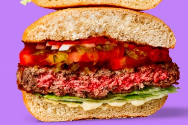 An Impossible Burger with the centre still red from the heme