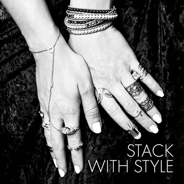 Eclectic stacks can show off a little of everything with daring flair…Show off your style by stacking your rings. #RingsByTheHandful #StackRings #StackWithStyle #Quality Gold #OldTownCottages