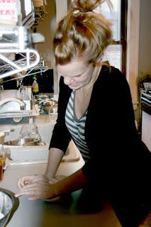 Sarah working the dough.