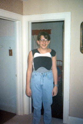 for fun - me in the back brace, sally jesse glasses, extra high waisted light wash denim and ALL that hair