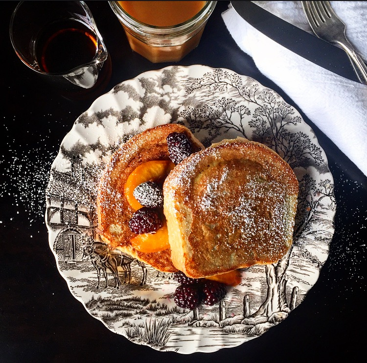French Toast with Blackberries and Peaches