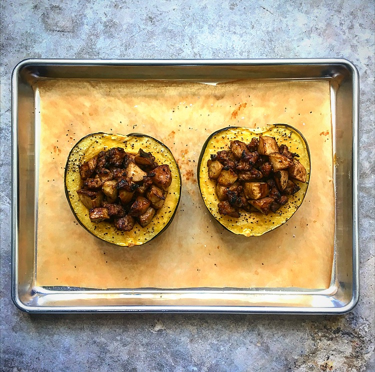 Roasted Acorn Squash with Fennel Sausage and Apples