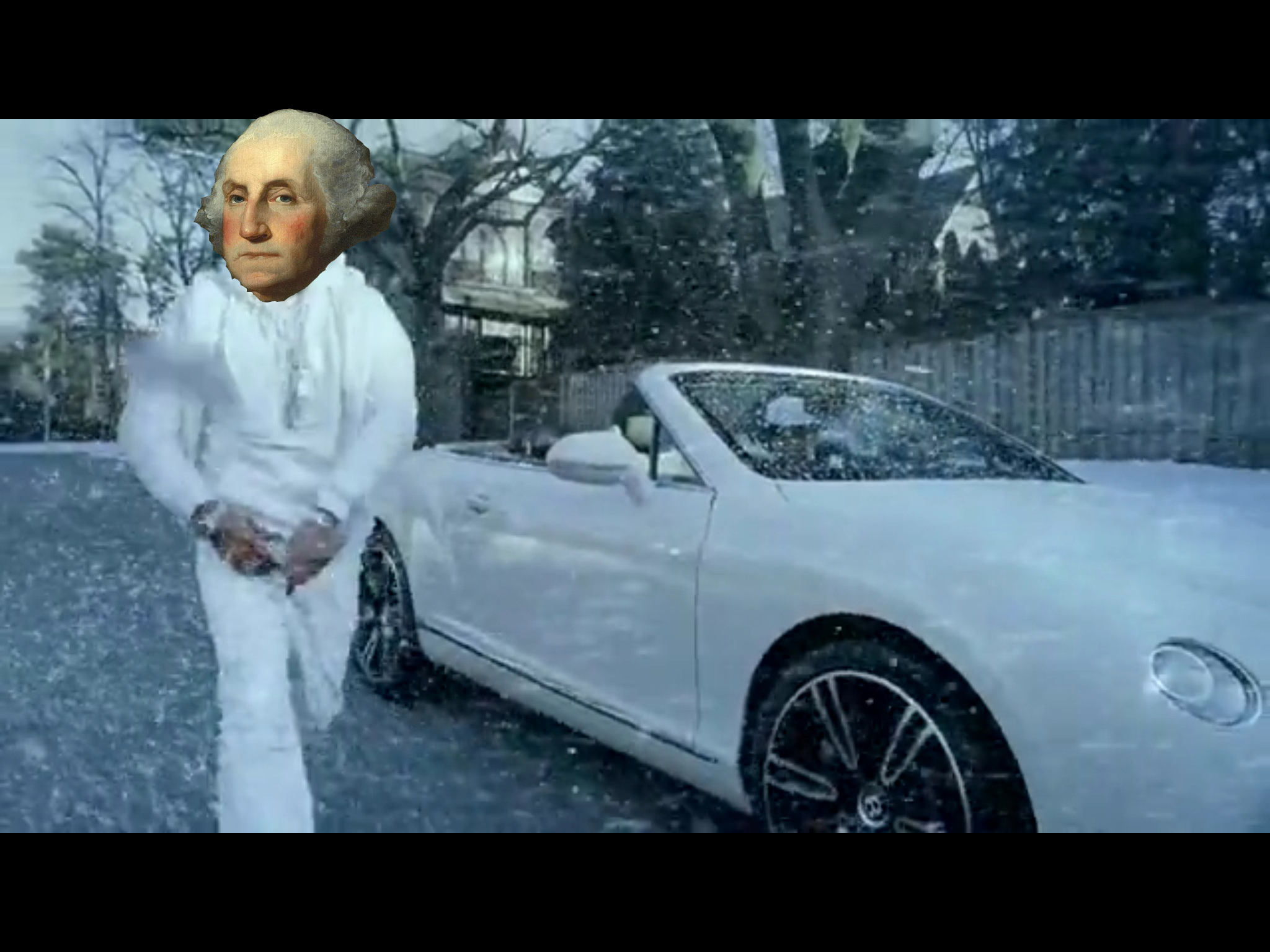 A rare portrait of George Washington touring the 13 colonies with his Bentley.