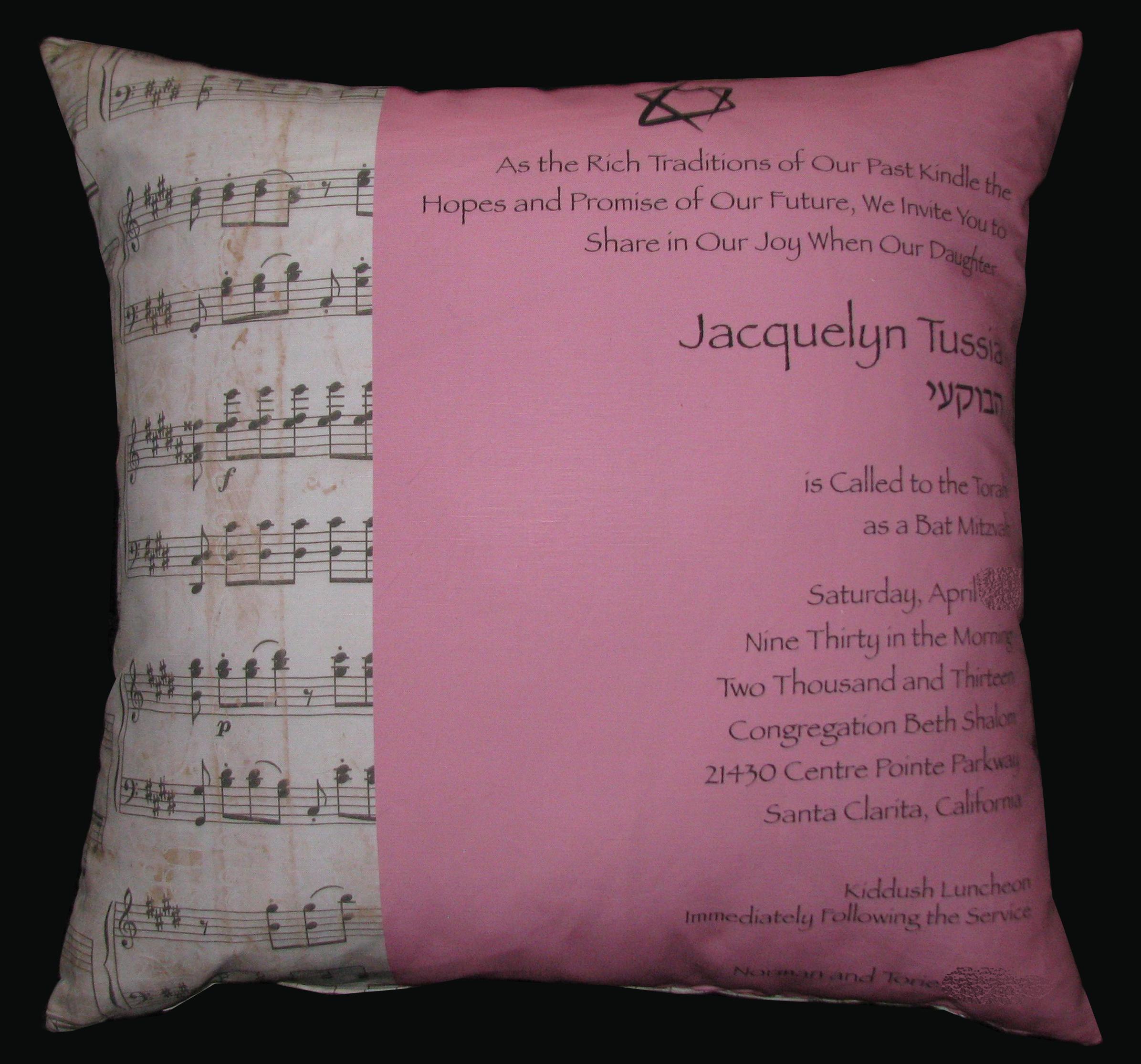 """JACQUELINE'S MUSIC (27"""") PILLOW"""
