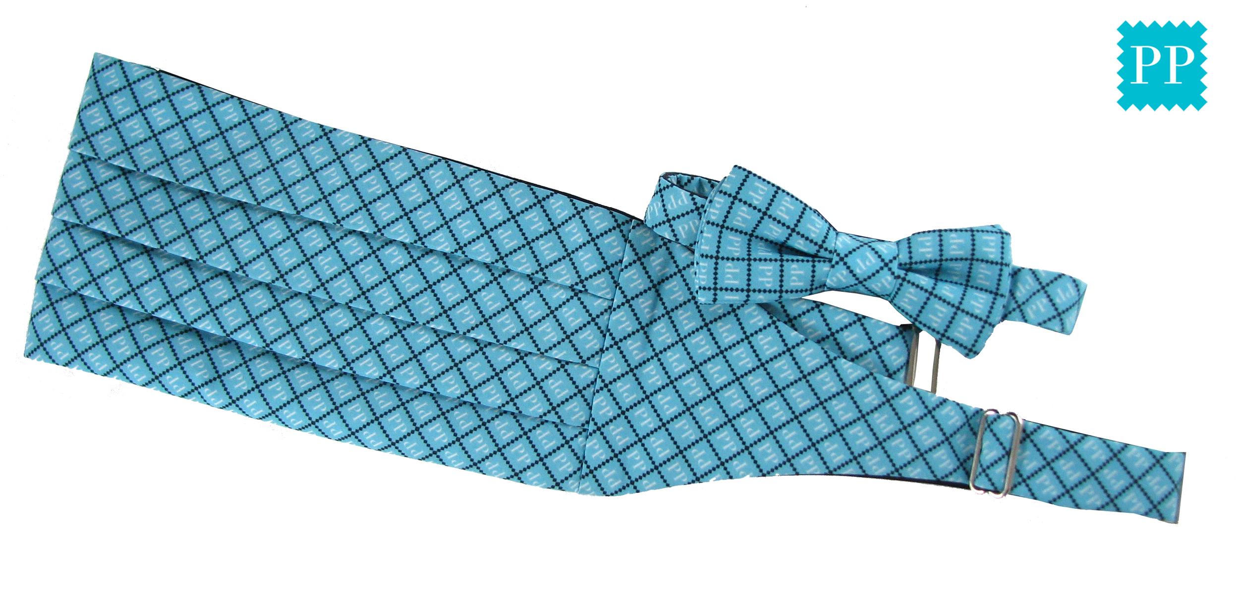 Our social media logo on a pre-tied bowtie and a cummerbund. Silky Faile
