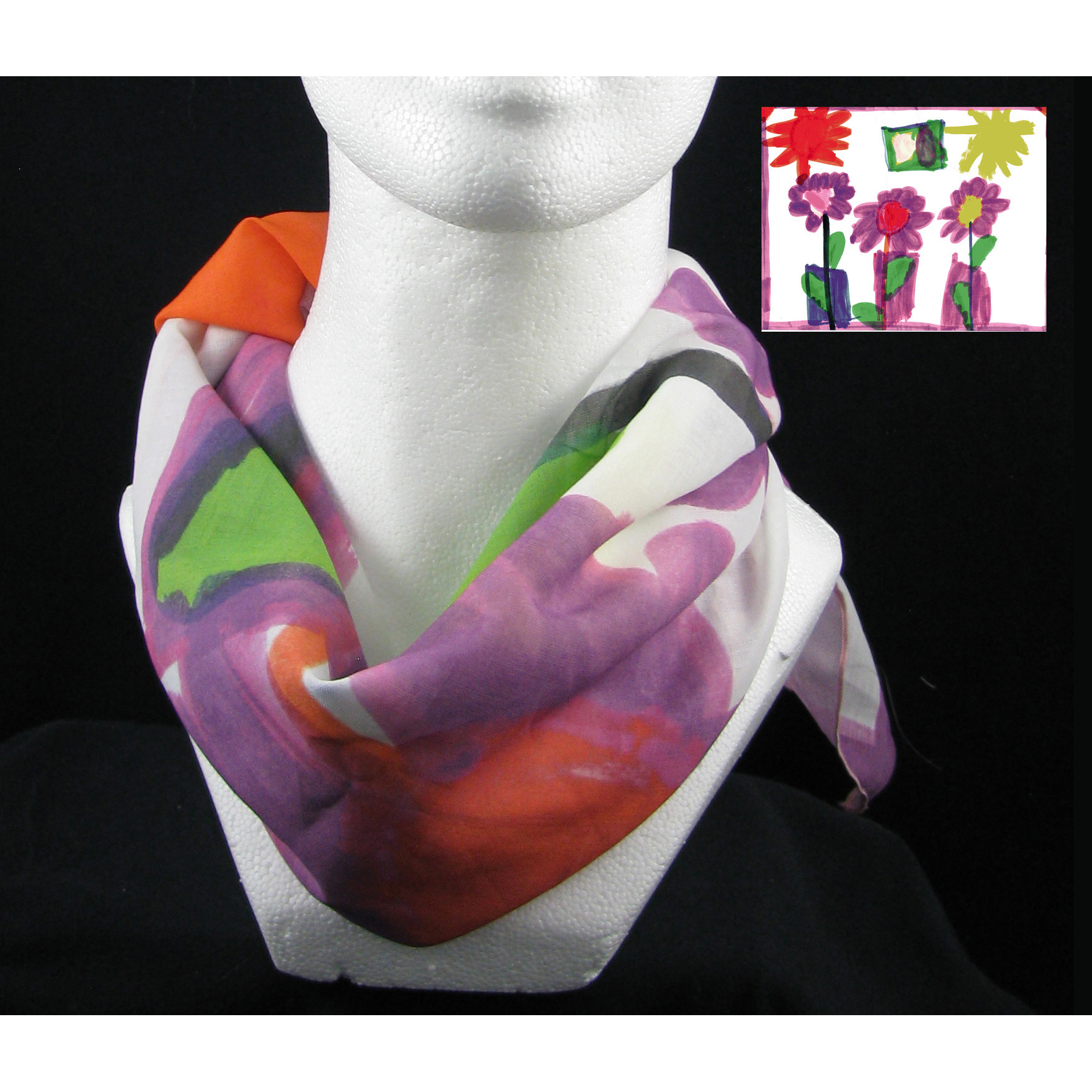 Children's art on a square scarf
