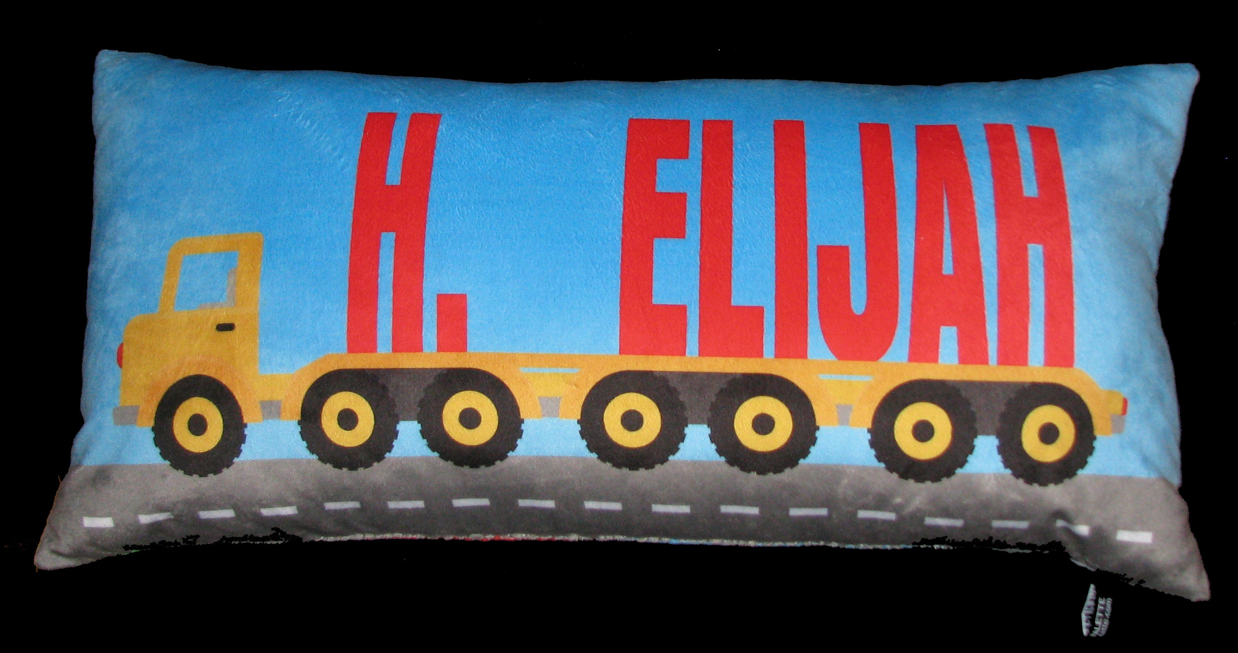 SHOP OUR PERSONALIZED DESIGNS - shown above - truck pillow in super soft minky