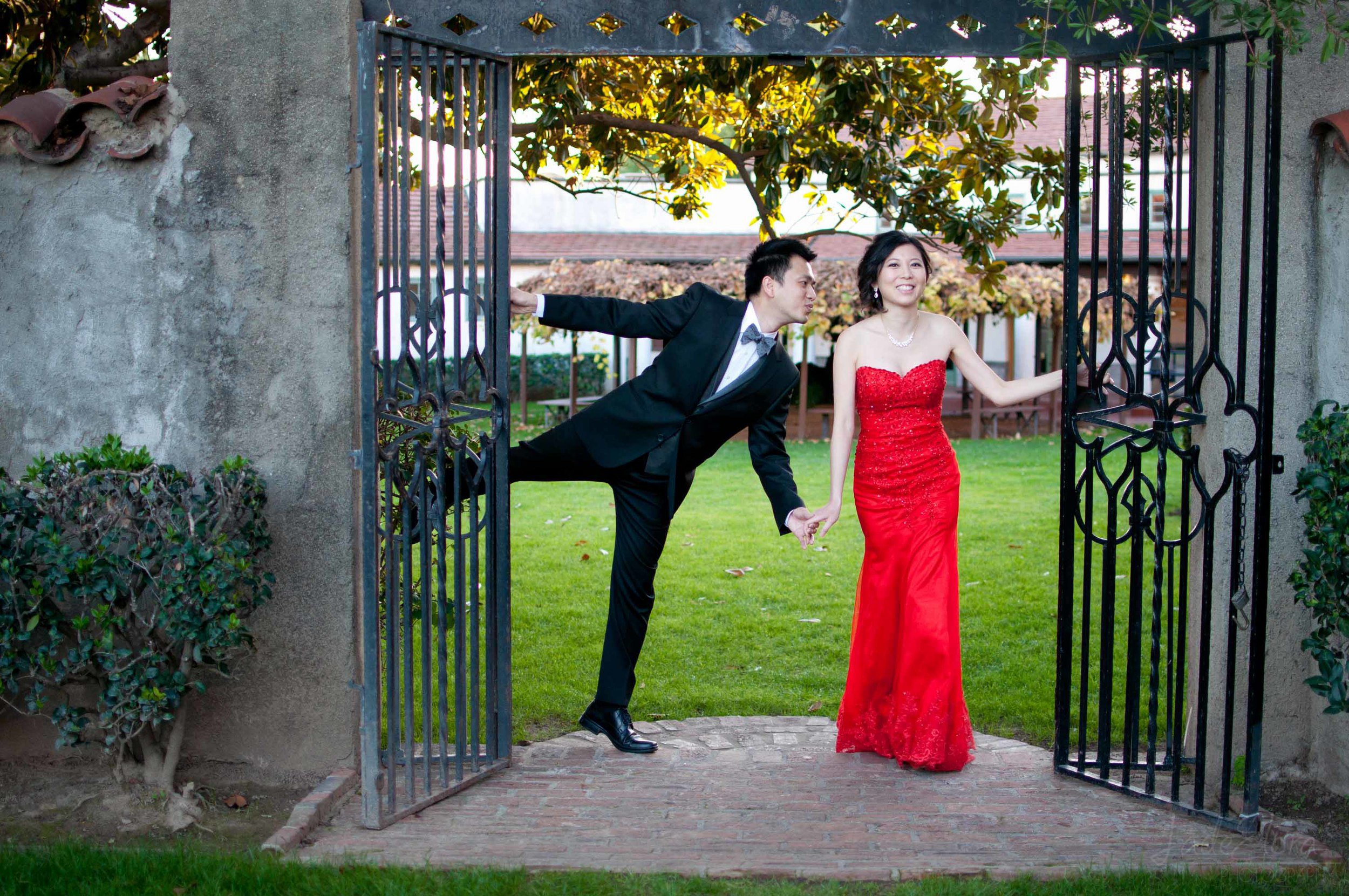 Red Dress Fun Wedding Photo