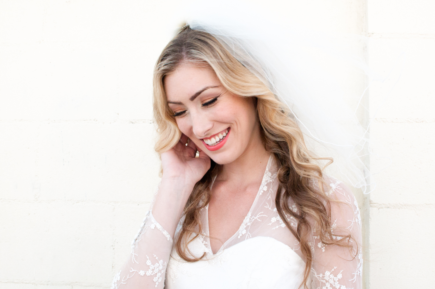 Smiling Blonde Bride in Vintage Dress
