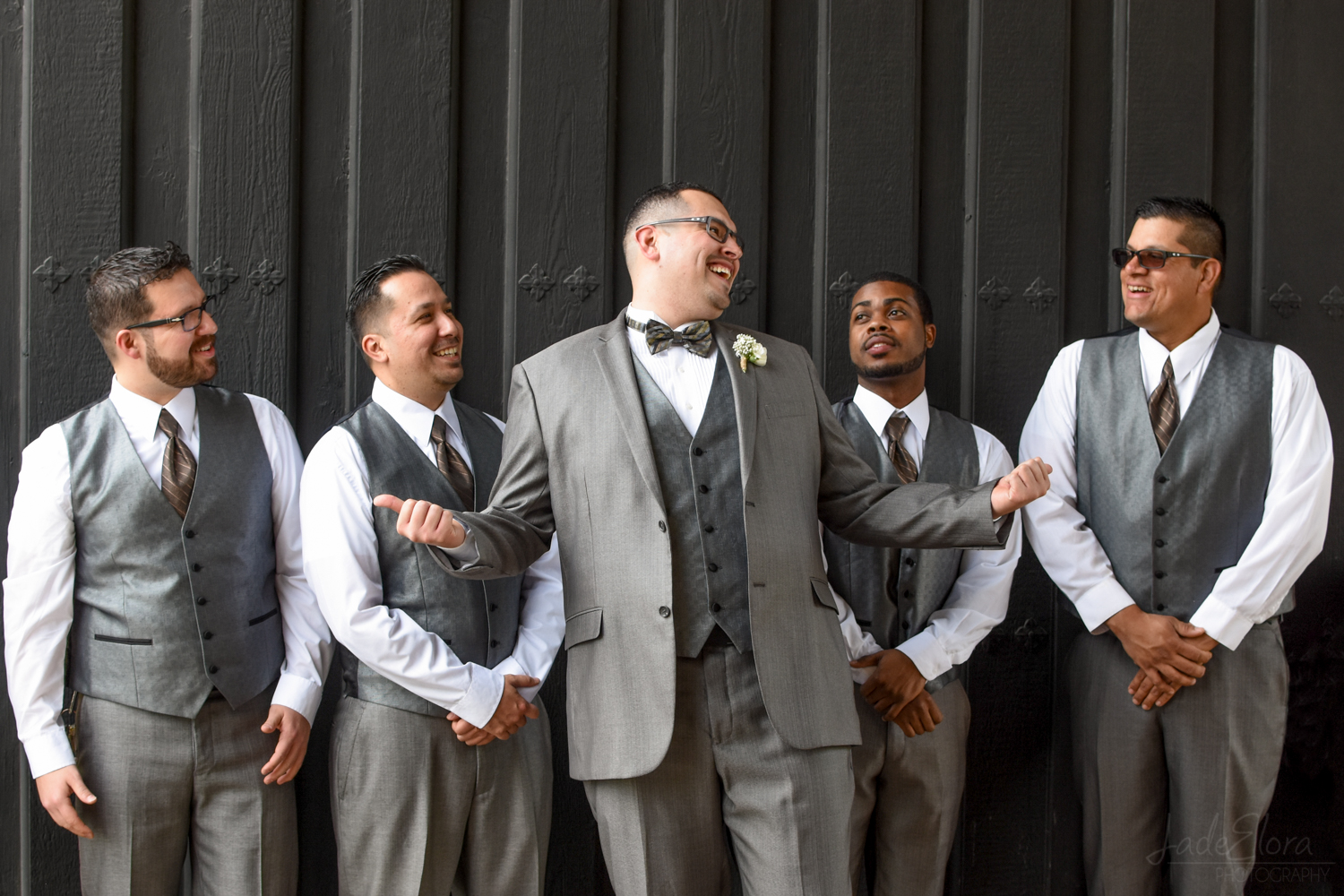 Fun Joking Groom with Groomsmen