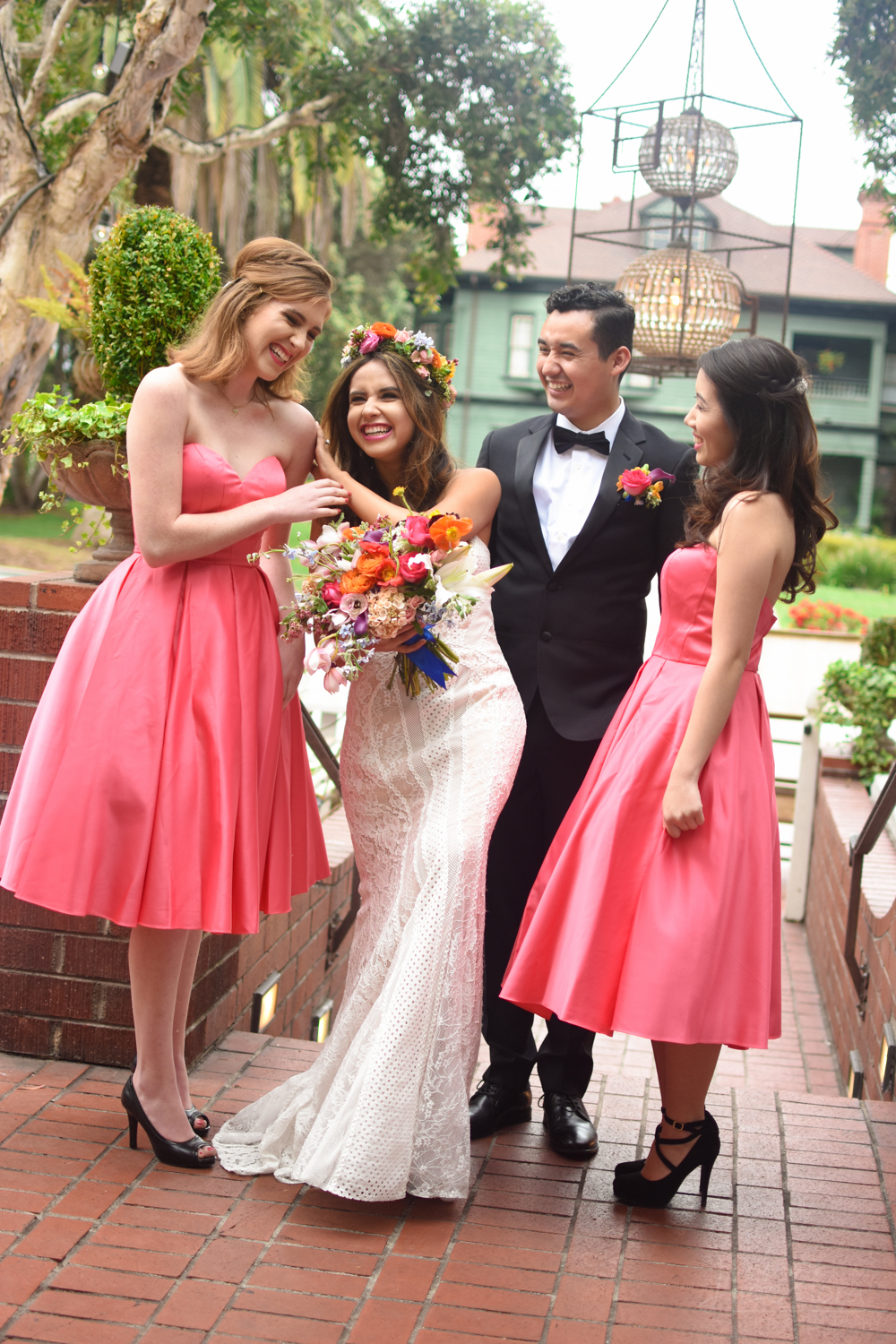 Colorful Hot Pink Bridal Party in Vintage Dresses