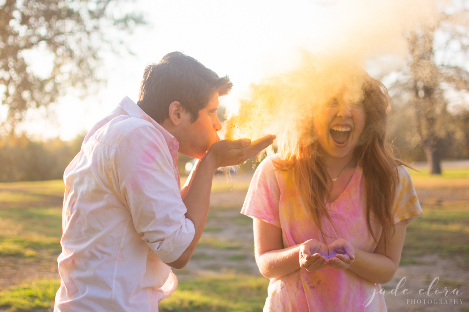 Colorful Playful Holi Powder Engagement Session