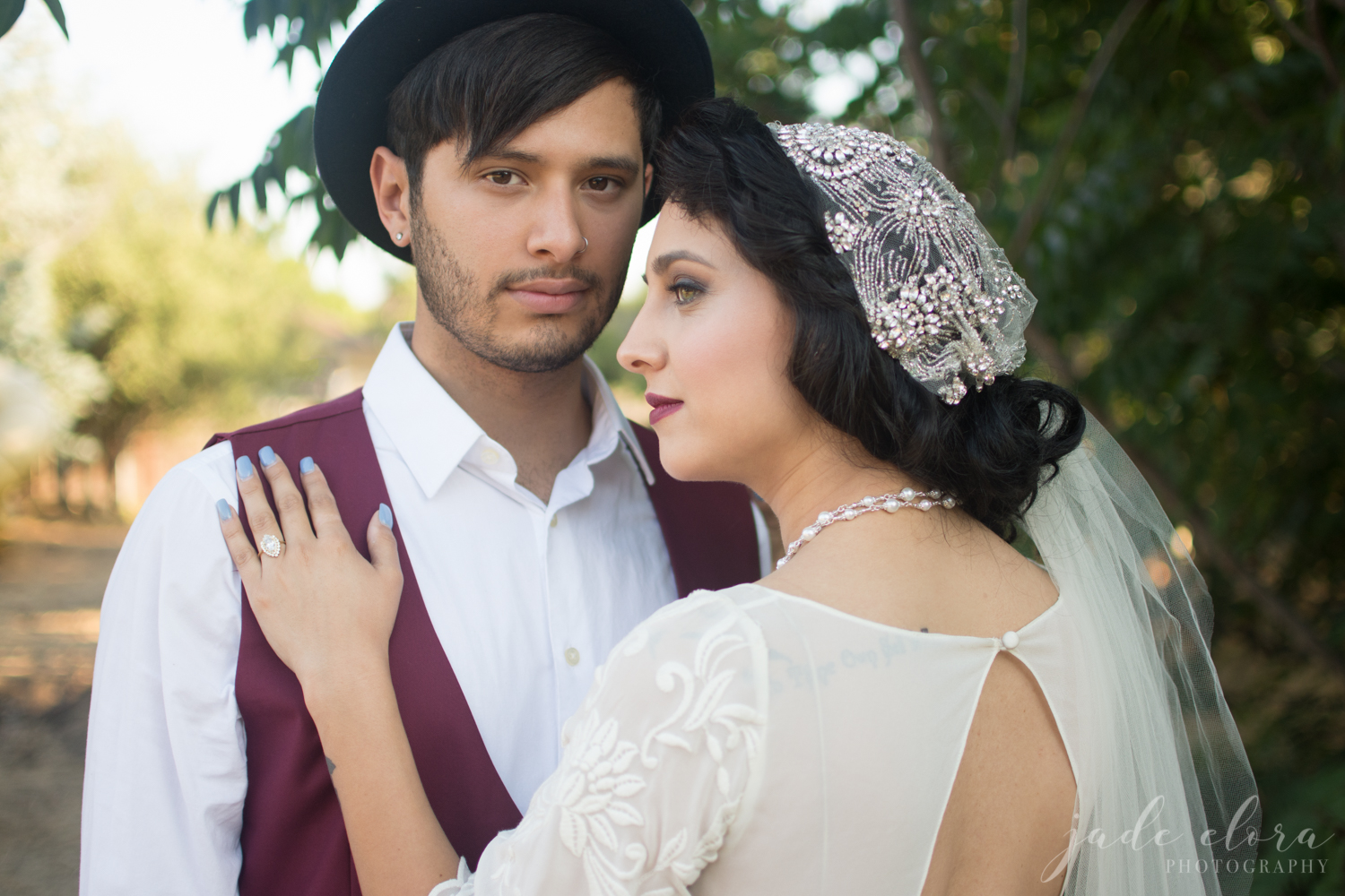Vintage 40s Inspired Veil and Wedding Gown