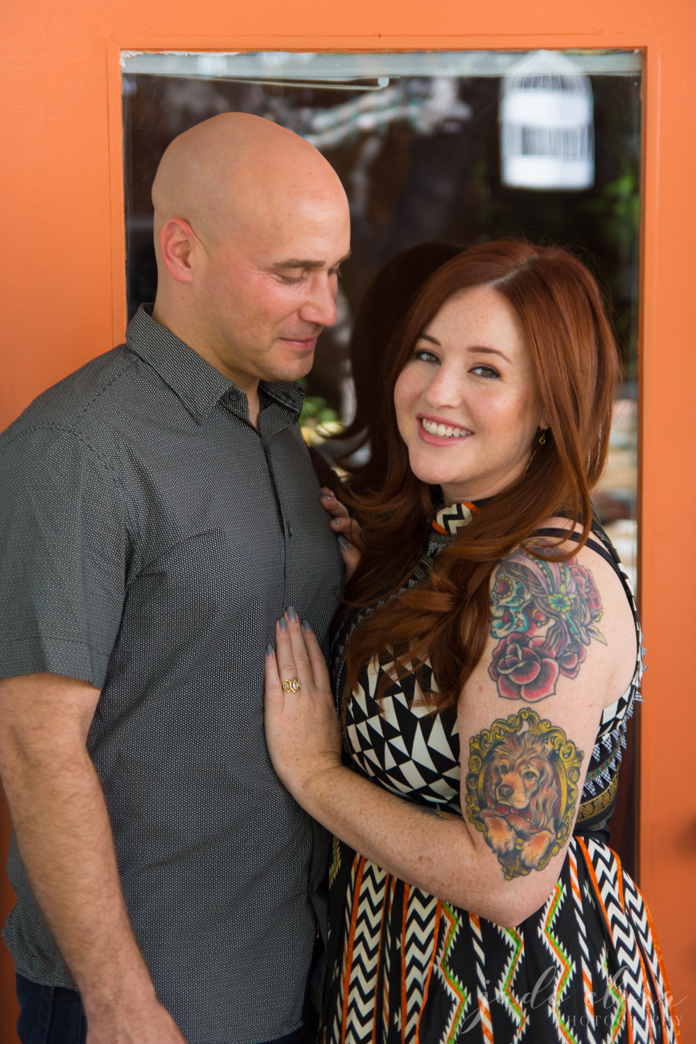 Tattooed Alternative Couple Colorful Engagement