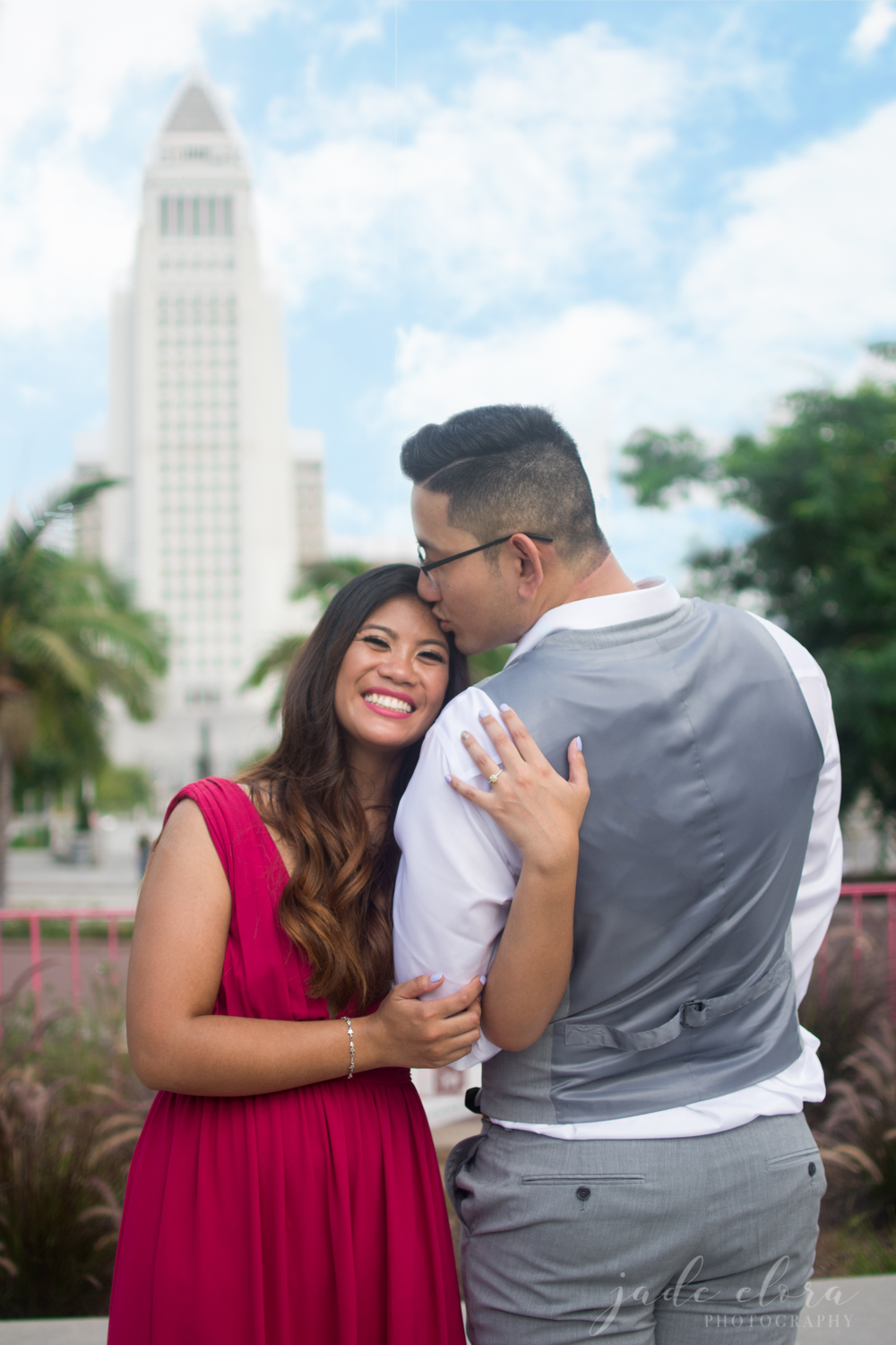 LA City Hall Engagement with Magenta Dress