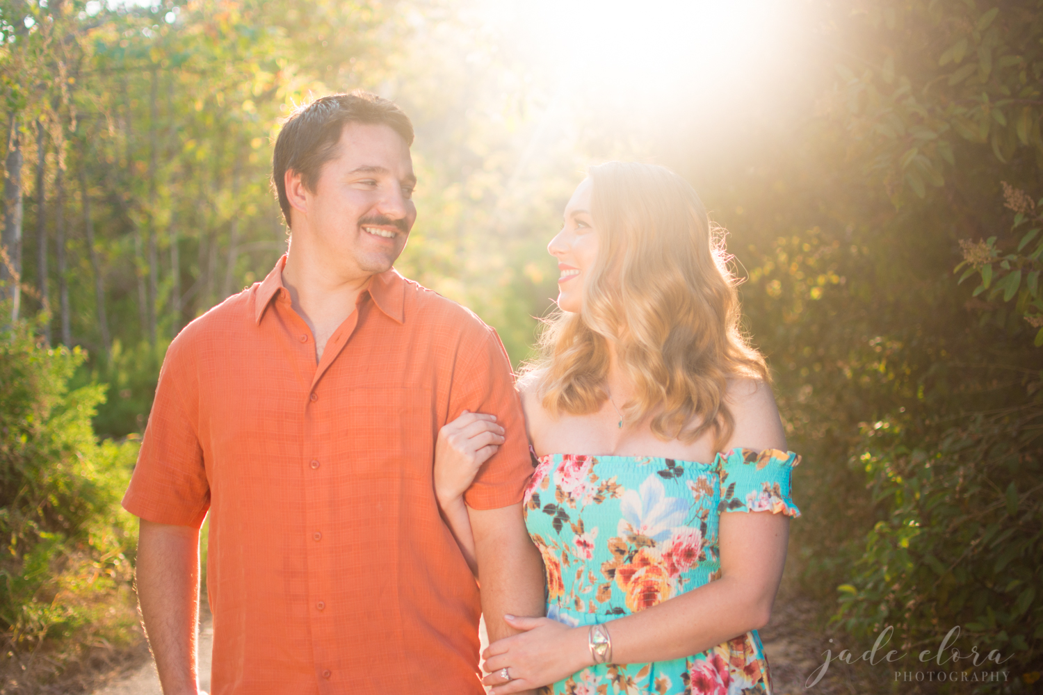 Colorful Orange and Turquoise Engagement in Malibu