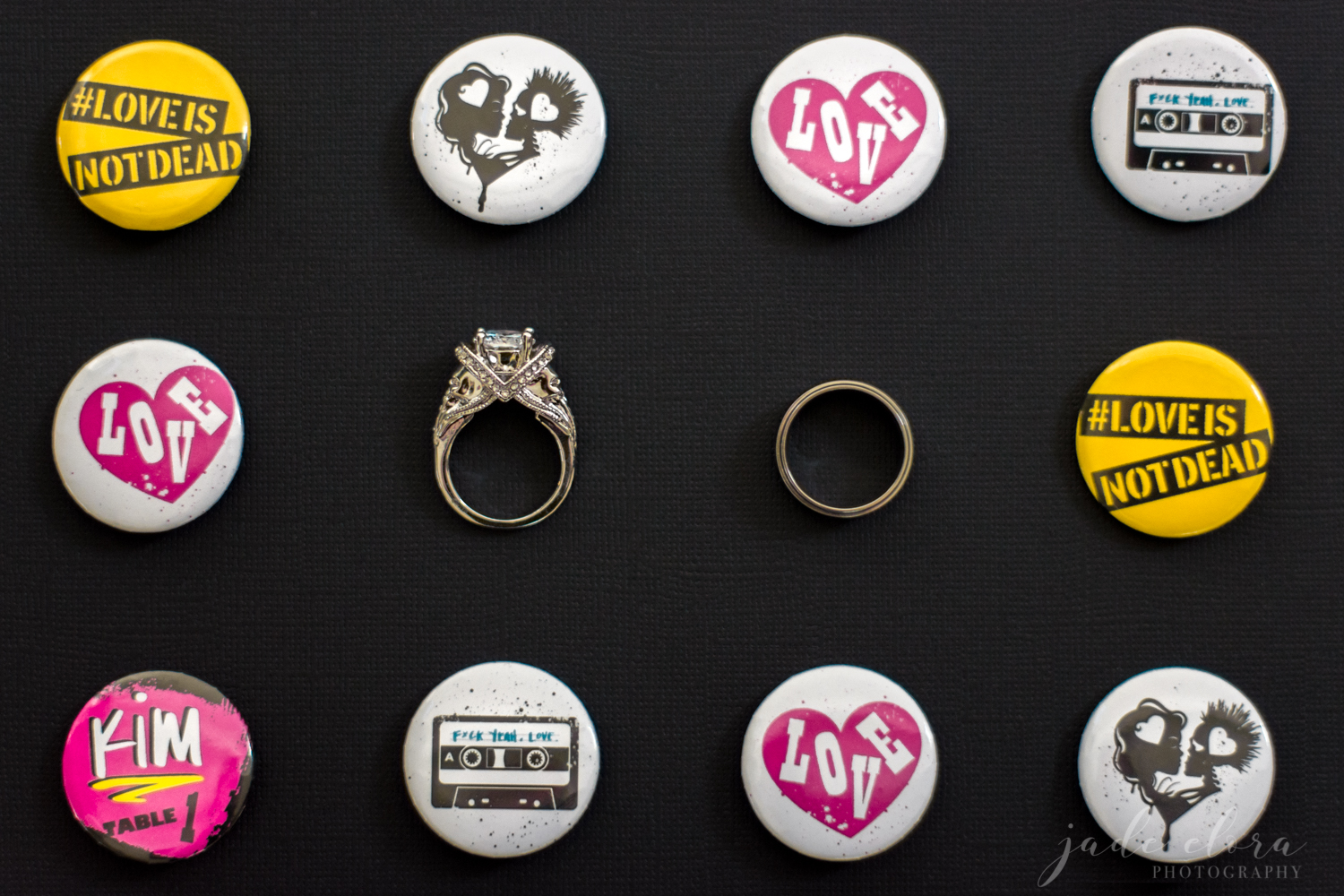 Skull Engagement Ring and Band Amongst Punk Rock Pins