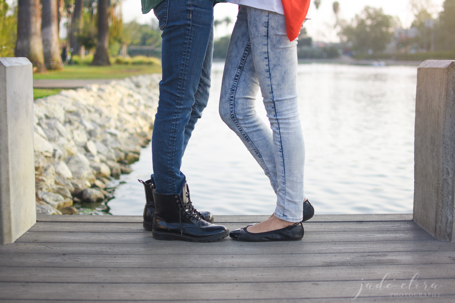 Close Up of Legs of Female Couple Embracing
