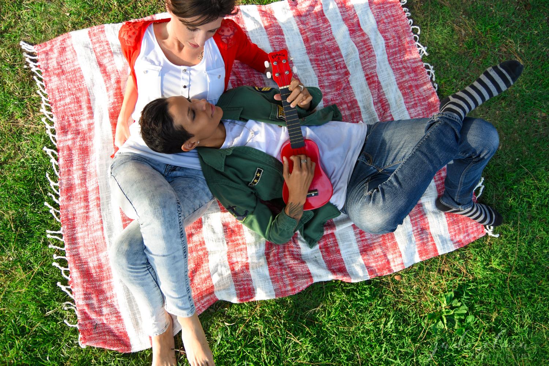 Lesbian Couple Relaxing Picnic Engagement