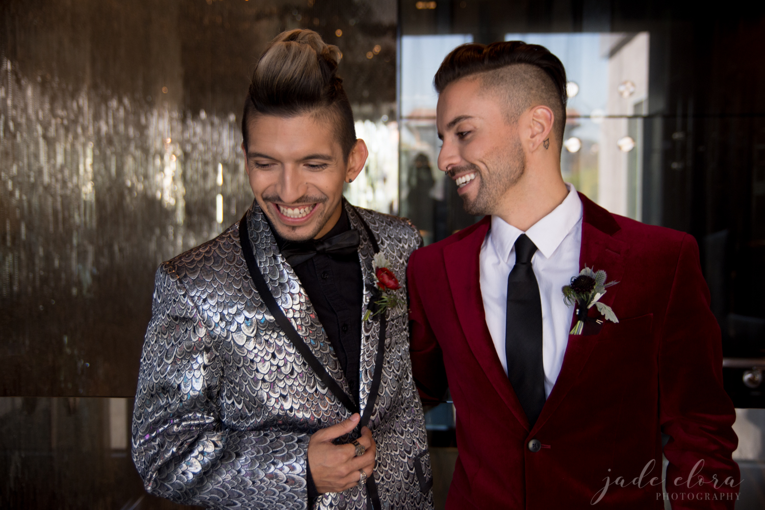 Rock n Roll Gay Couple in Flashy Silver and Red Suits Laughs