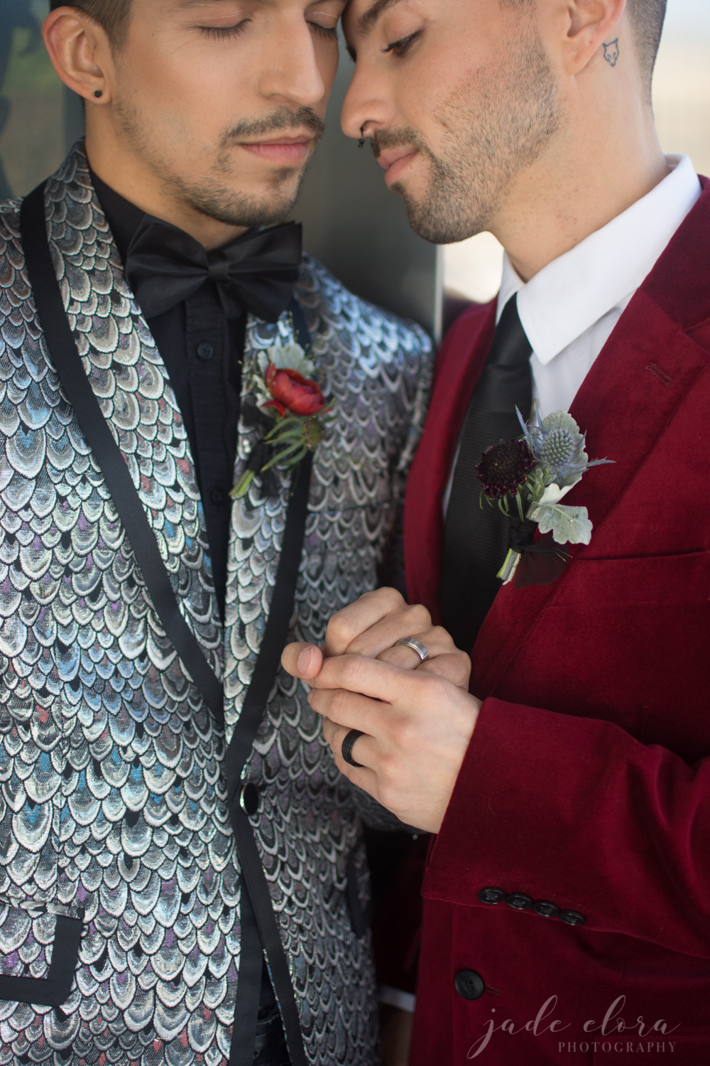 Gay Couple Shares Intimate Moment in Wedding Attire