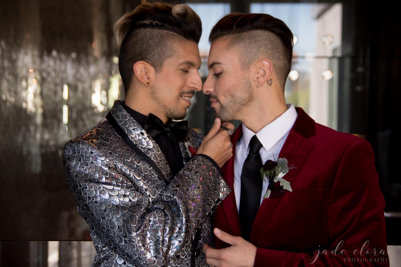 Same Sex Male Couple in Flashy Rock n Roll Wedding Attire