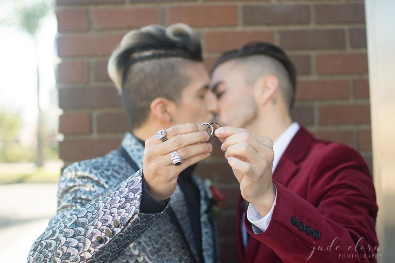 Gay Couple Kissing Behind Wedding Rings