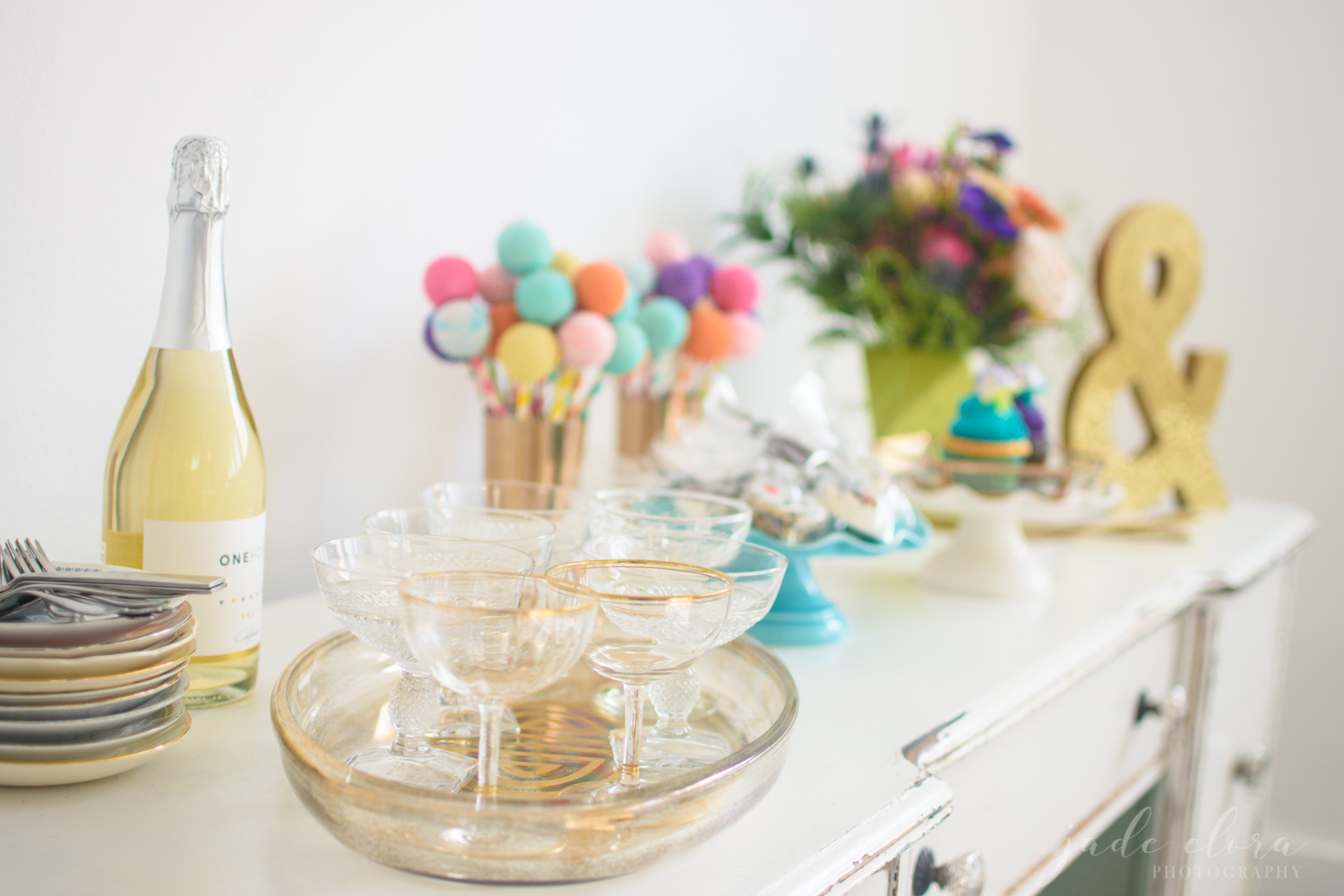 Colorful Cake Pop & Champagne Cocktail Hour Spread