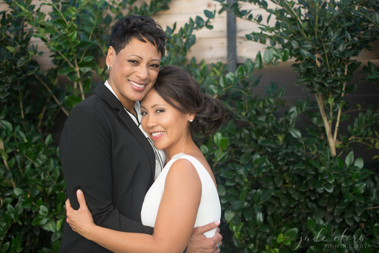 Gay Female Couple Hugging and Smiling for the Camera
