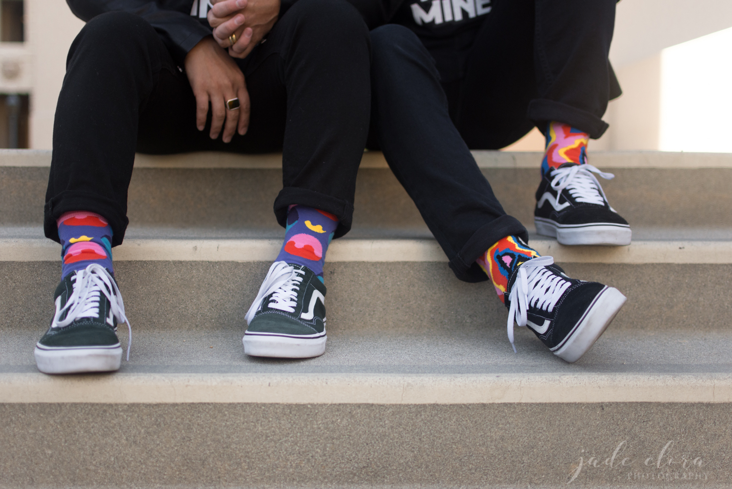 Close Up on Gay Couple's Matching Shoes and Socks