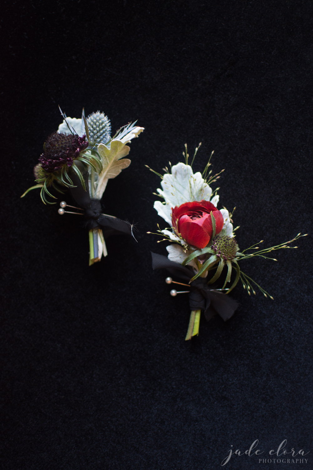 Grooms' Edgy Boutonnieres