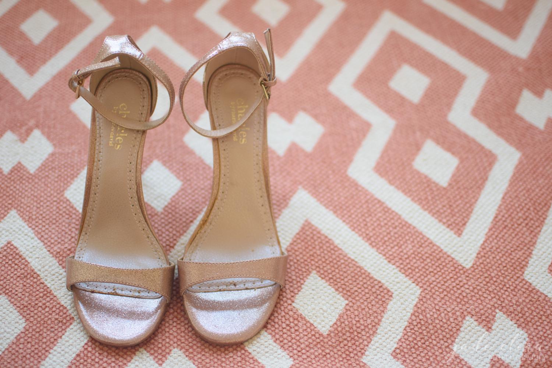 Pink Bridal Heels on Pink Geometric Rug