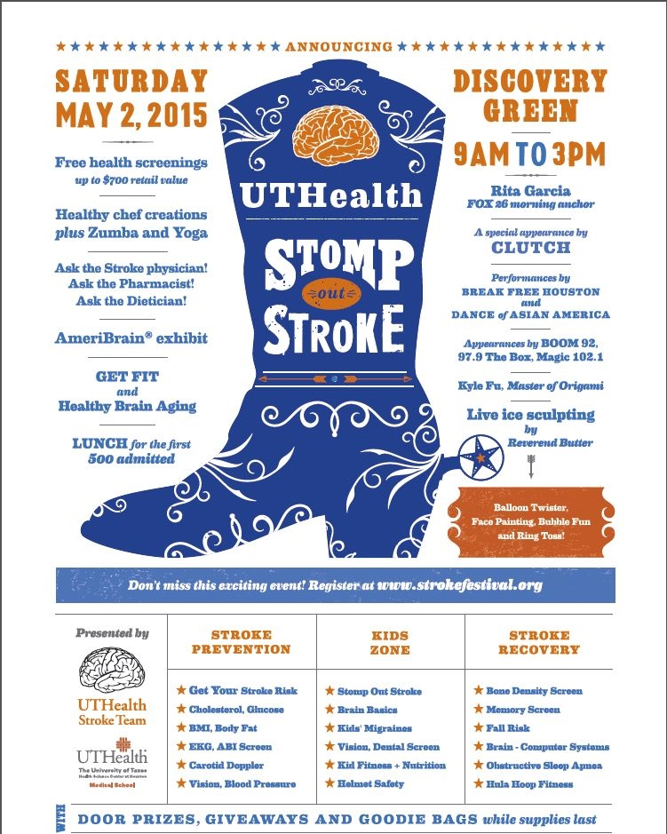 You're invited to this family-friendly event, open to the public FREE of charge. Rita will emcee at Discovery Green beginning at 9AM May 2, 2015.Organizers will feature stroke and brain education, health screening and participants will have the opportunity for Question and Answersessions with physicians.