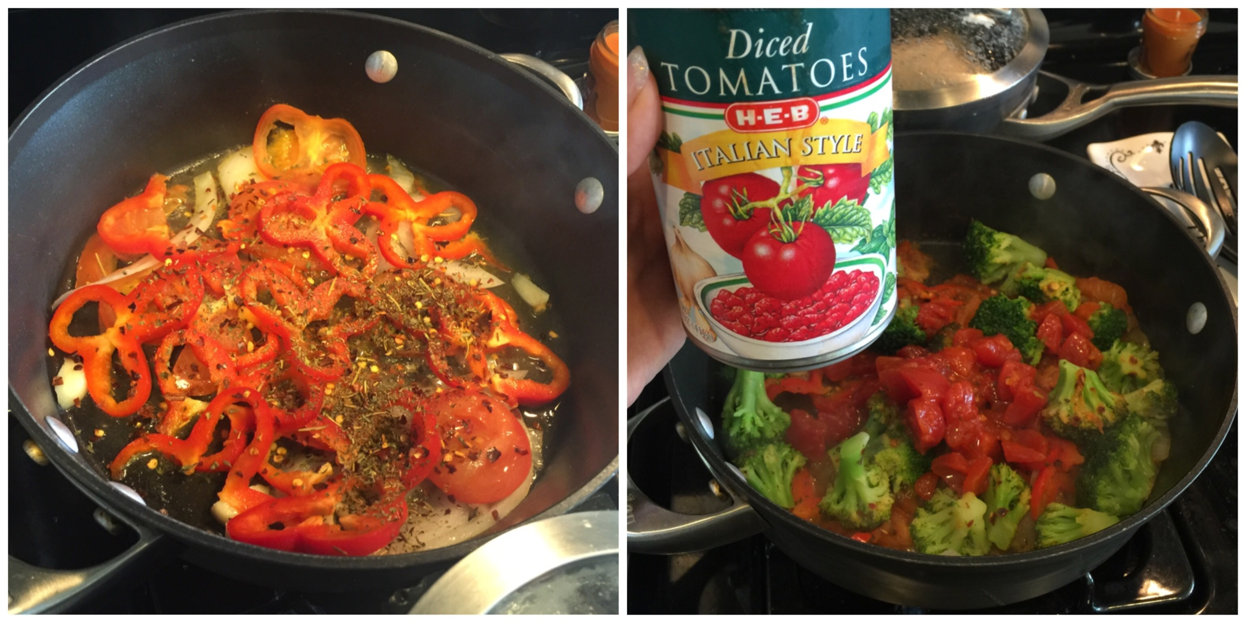I like to add broccoli and spinach to my pasta sauce but it will get soggy pretty quick. For that reason I only keep it on the flame for a few minutes. You can add Italian seasoning like I did; for more flavor use half a can of Italian style diced tomatoes.